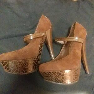 Just Fab Taleen Brown Mary Jane Stiletto